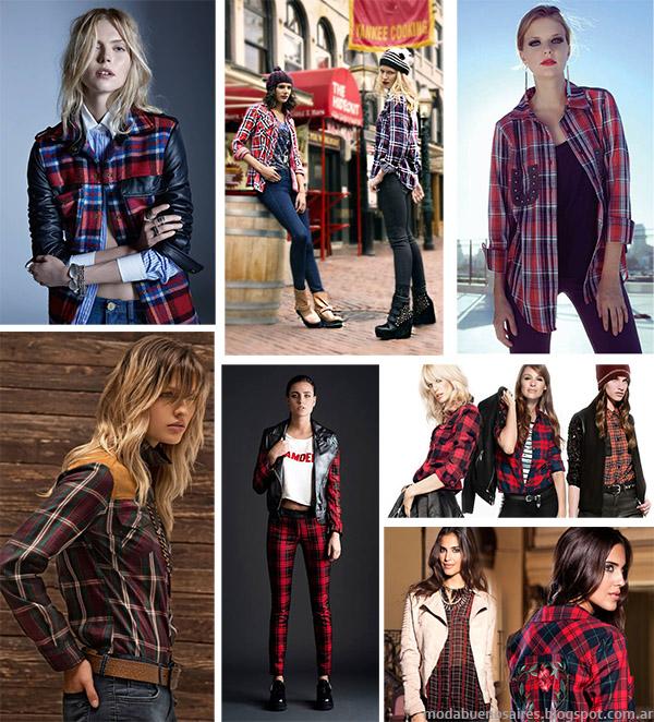 Moda otoño invierno 2014 Argentina - Ropa con estampado a cuadros escoceses moda otoño invierno 2014.
