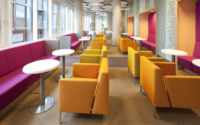 Picture of the interiors with colorful chairs