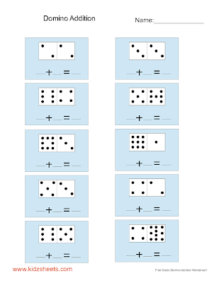 math worksheet : kidz worksheets first grade domino addition worksheet1 : Free Addition Worksheets First Grade