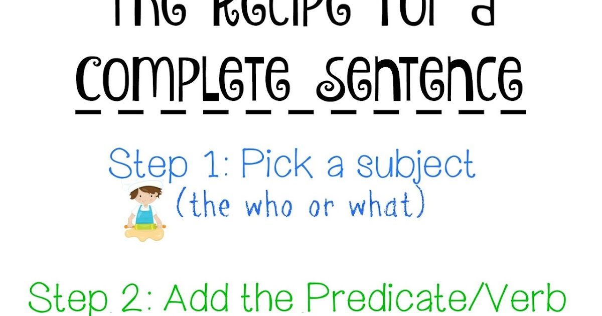 Farm Fresh Adventures: Free Printable: Recipe for a Complete Sentence