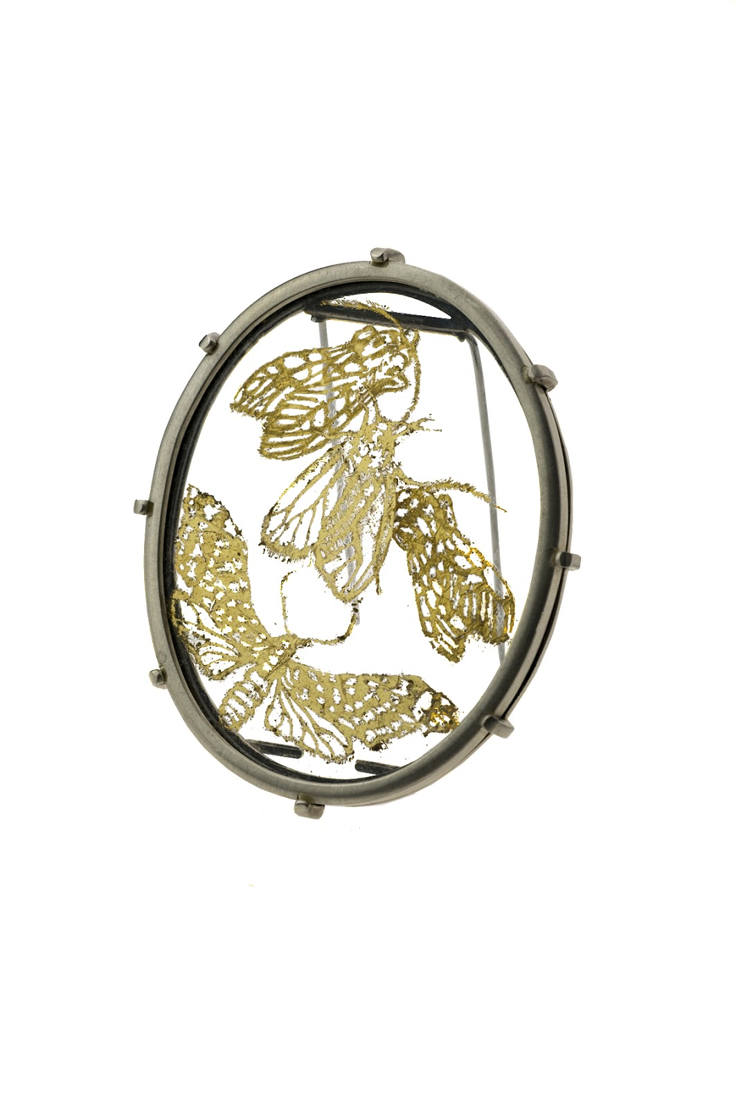"Aliyah Gold -   Moth Brooch Sterling silver, Glass, Gold leaf - ""Infestations"" 2013"