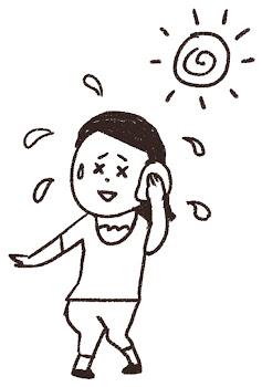 夏バテのイラスト「汗を拭く女性」線画