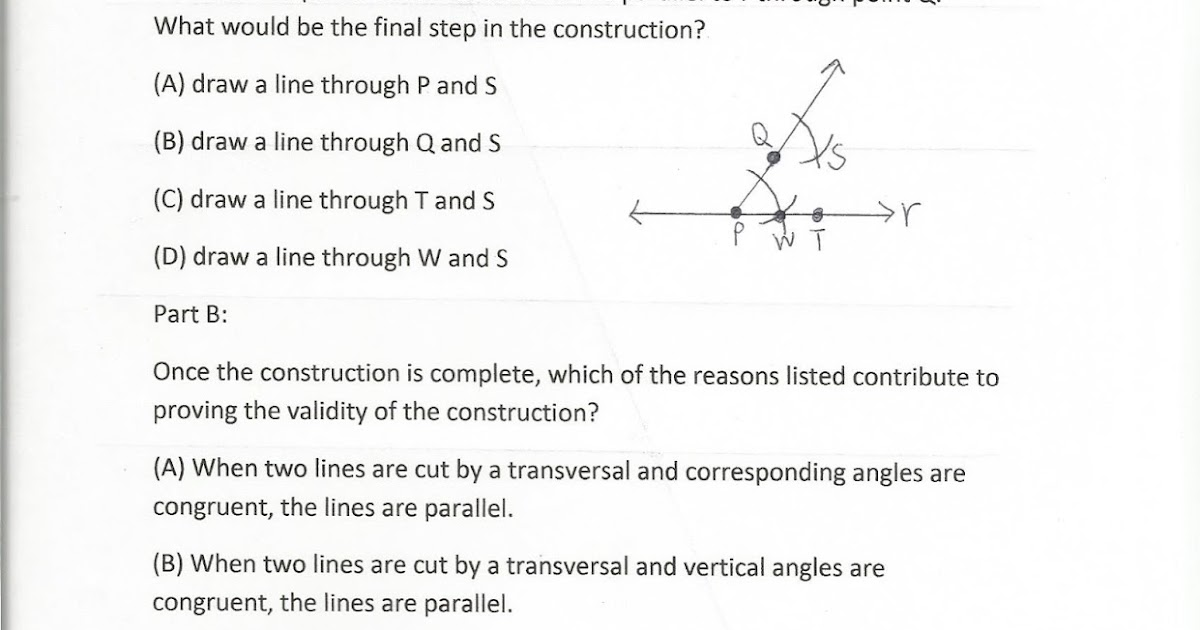 Geometry Common Core Style PARCC Practice Test Question 32 Day 177 – Transversals Worksheet