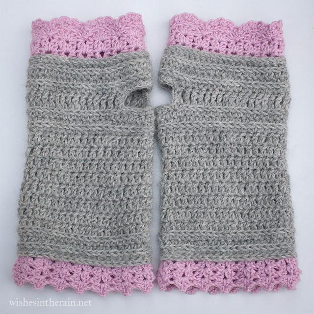 pair of crochet wrist warmers or fingerless gloves - www.wishesintherain.net