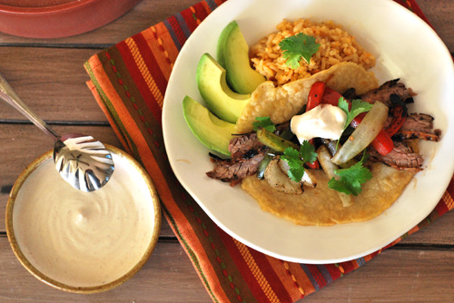 mesquite grilled skirt steak with chipotle tortillas