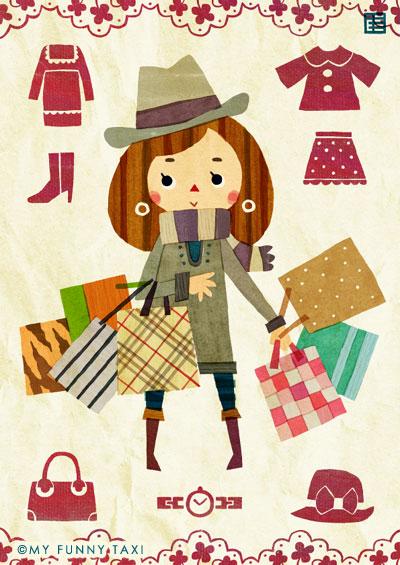 買い物のイラスト Shopping illustration