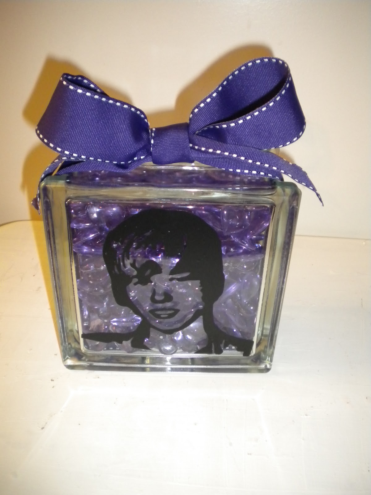 Justin bieber scrapbook ideas - Here Is The Glass Block That I Made Her I Put Justin On The Front And Then Used The Ariel Font To Put Bieber Fever On The Back Of The Block