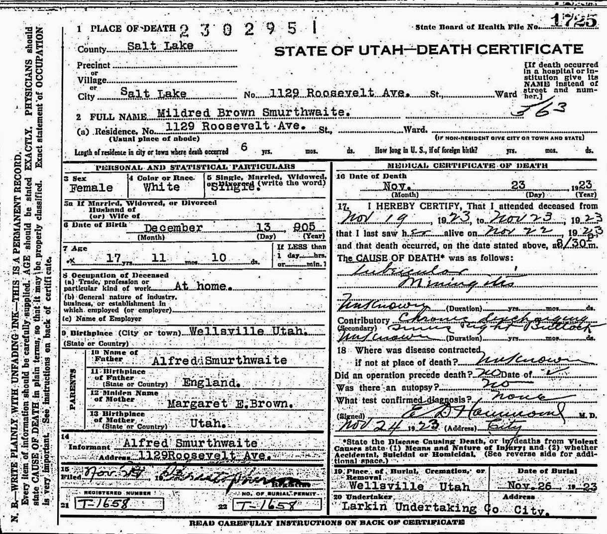 Family histories smurthwaite mildred brown 1905 1923 mother margaret e brown b utah death 23 nov 1923 salt lake city salt lake utah cause of death tubercular meningitis 1betcityfo Choice Image