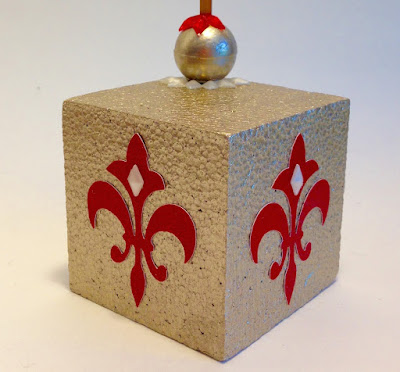 painted smoothfoam cube fleur de lys