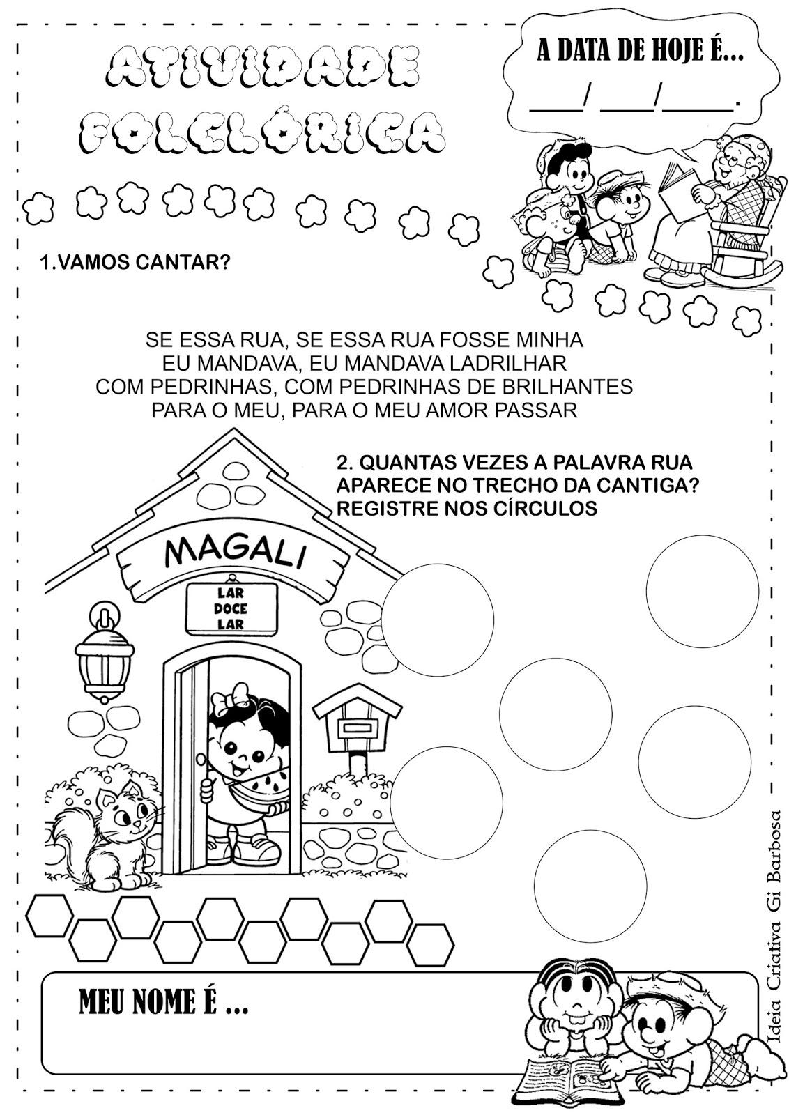 Populares Atividade Folclore Cantiga Se Essa Rua Fosse Minha | Ideia  HY71