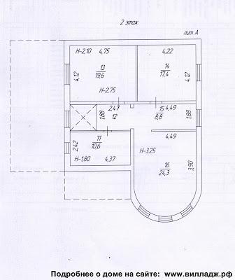 Дом в Солнечногорском районе, Московская область. План дома - второй этаж