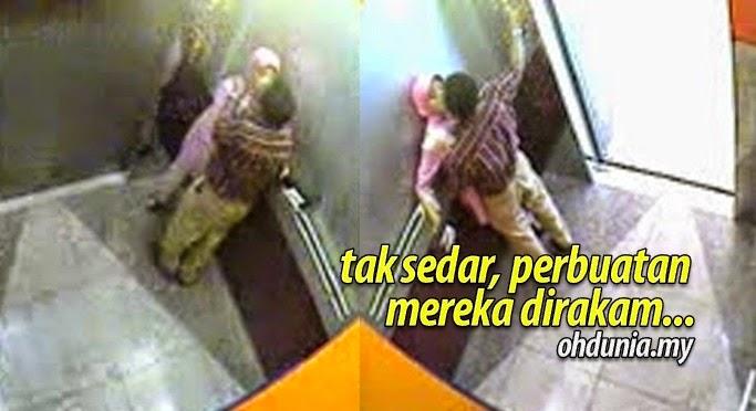 Buat 'Kerja' Dalam Lif, Tak Sedar Perbuatan Mereka Dirakam CCTV