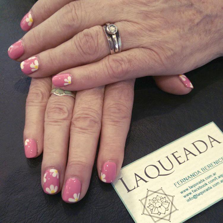 nail art margaritas rosa