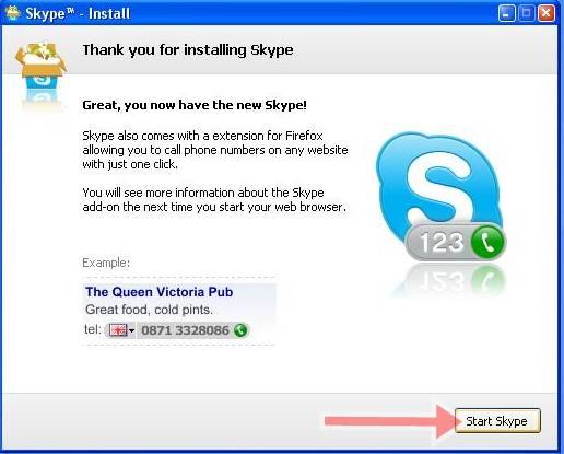 setelah selesai klik start skype