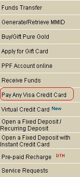 Do Any Visa Credit Card Payment From ICICI Bank Internet Banking