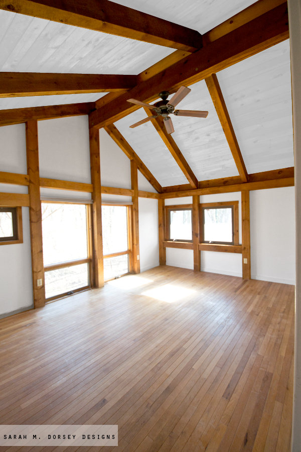 Sarah m dorsey designs wood in our house to paint or - Painting wood beams on ceiling ...