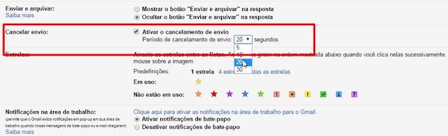 Ativando a opção do Gmail cancelar envio de email