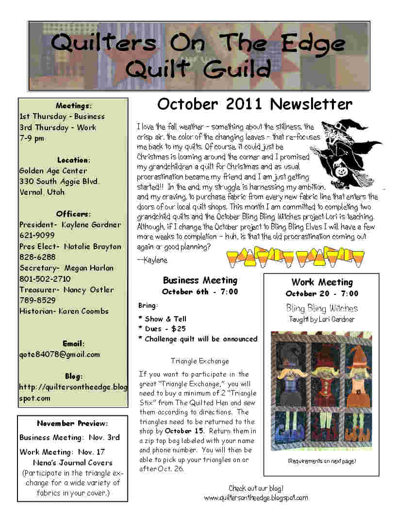 Quilt Guild Newsletter Ideas : Quilters On The Edge Quilt Guild: October 2011 Newsletter