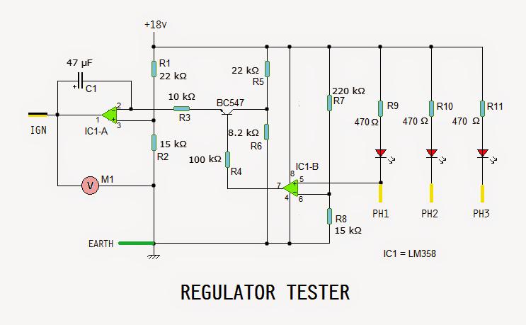 motorcycle regulator, rectifier tester circuit, Wiring diagram
