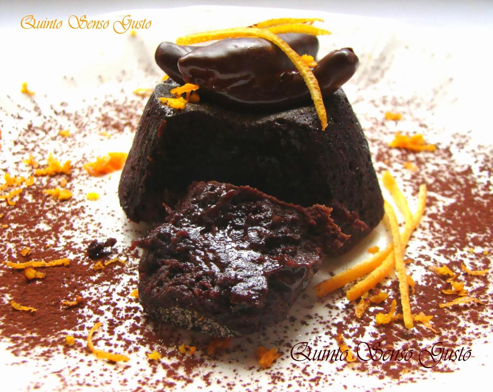 tortino caldo fondente aromatizzato all'arancia e zenzero
