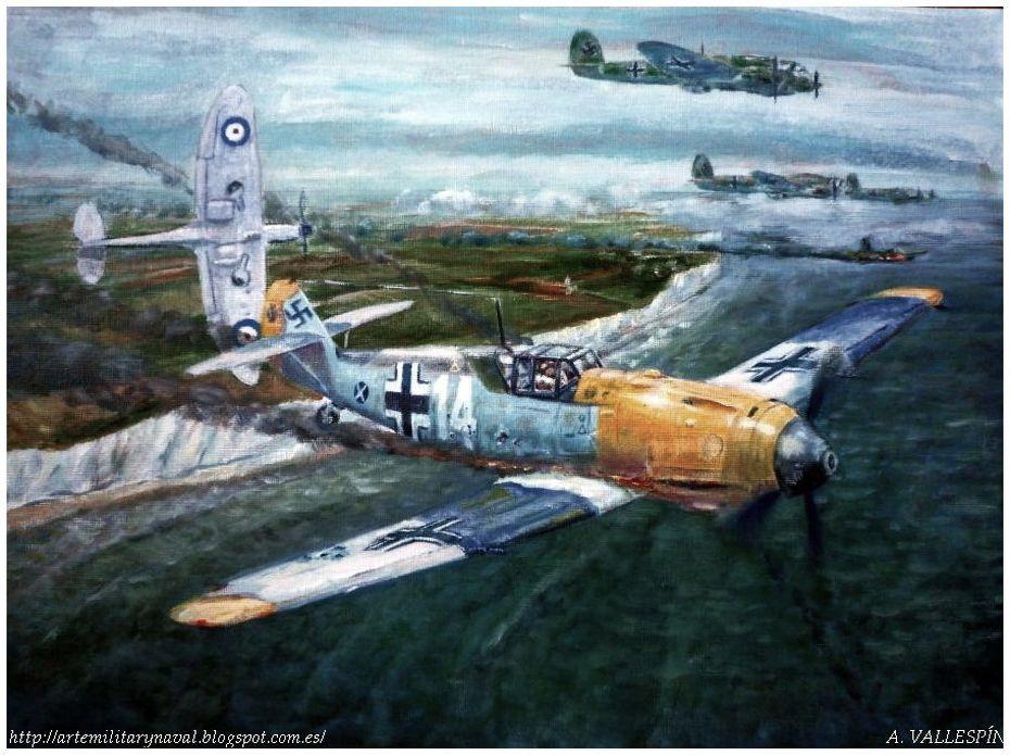 Última sesión óleo volando sobre Dover - Batalla de Inglaterra