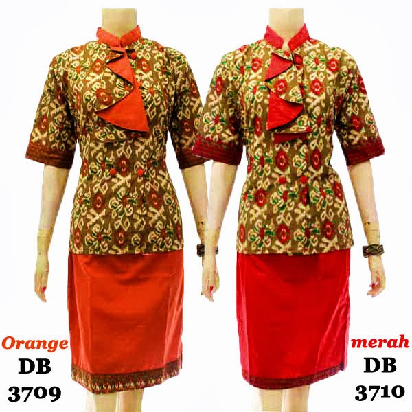 DB3709-3710 Mode Baju Dress Batik Modern Terbaru 2014