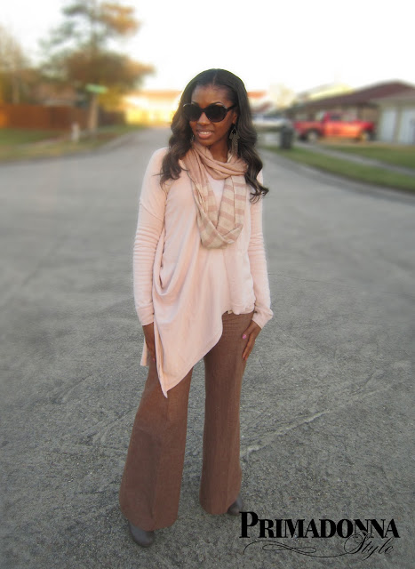 Asymmetrical draped sweater top wide leg pant