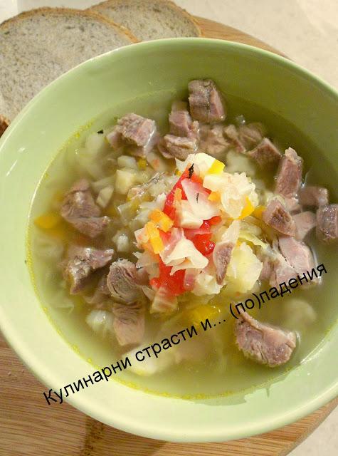 Супа със свинско карфиол и зеле
