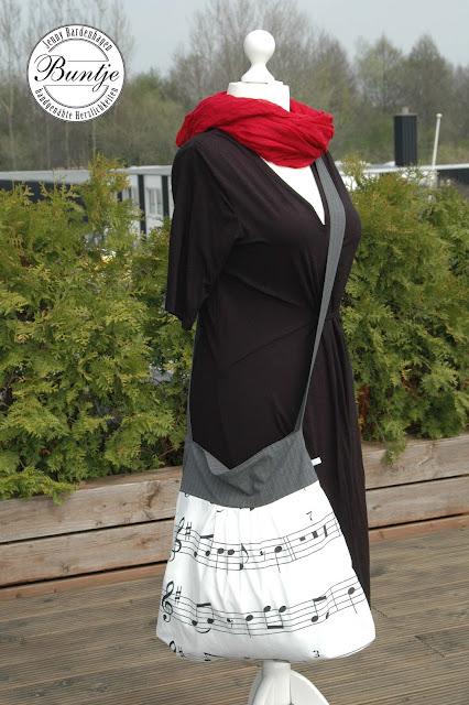 Shopper Tasche Umhängetasche Baumwolle elegant edel Nadelstreifen weiß grau