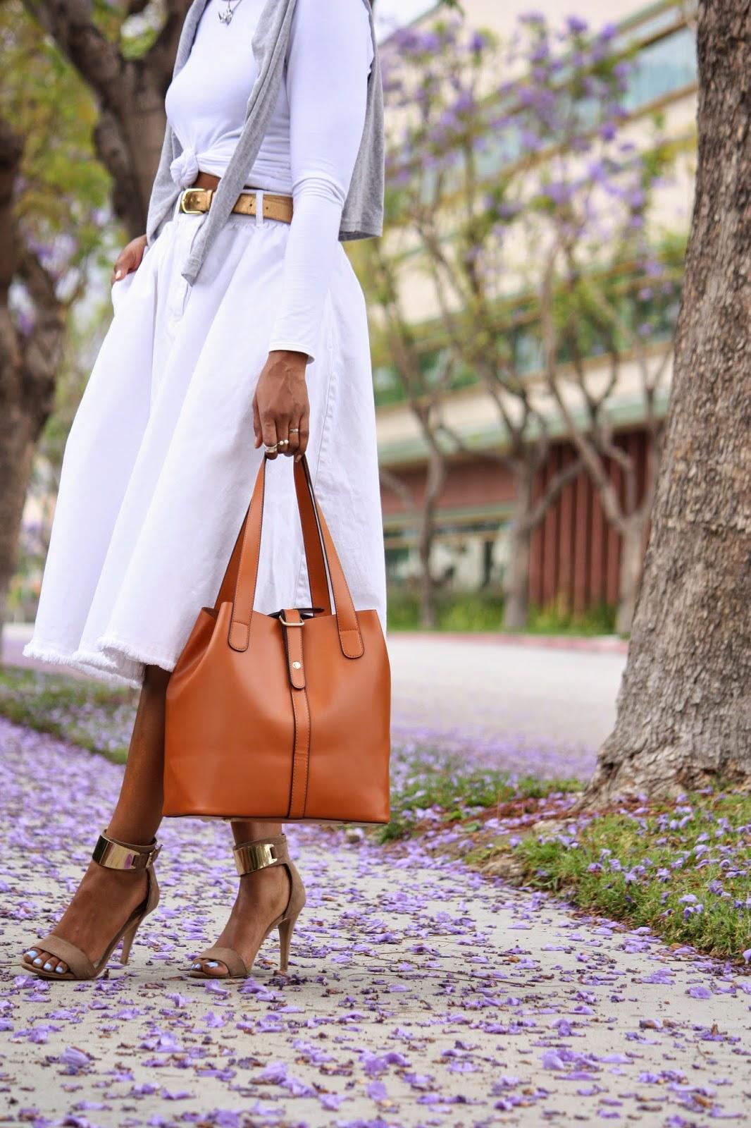 Outfit details, Ms. Littles Bag leather multifunctional bucket bag, HM white denim skirt, Aldo heeled sandals