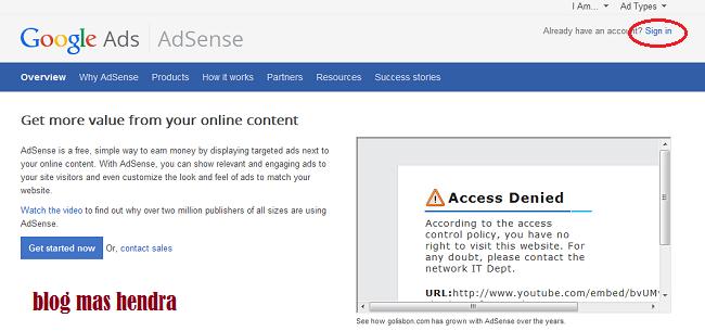 tampilan muka website google adsense blog mas hendra