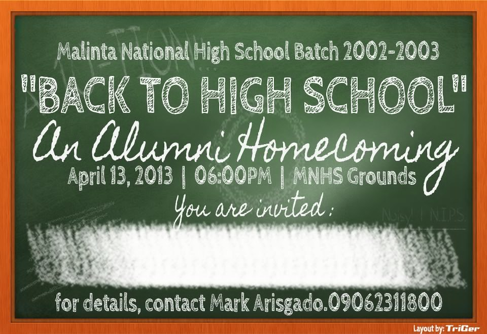 Back to high school malinta national high school batch 2003 electronic invitation designed by kuya gerry rodriguez stopboris Image collections
