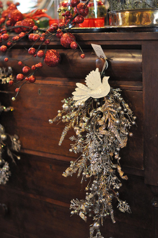antique dresser with christmas decor