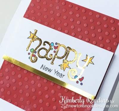 foiled New Year's card | Minc | Newton's Nook | handmade card | kimpletekreativity.blogspot.com