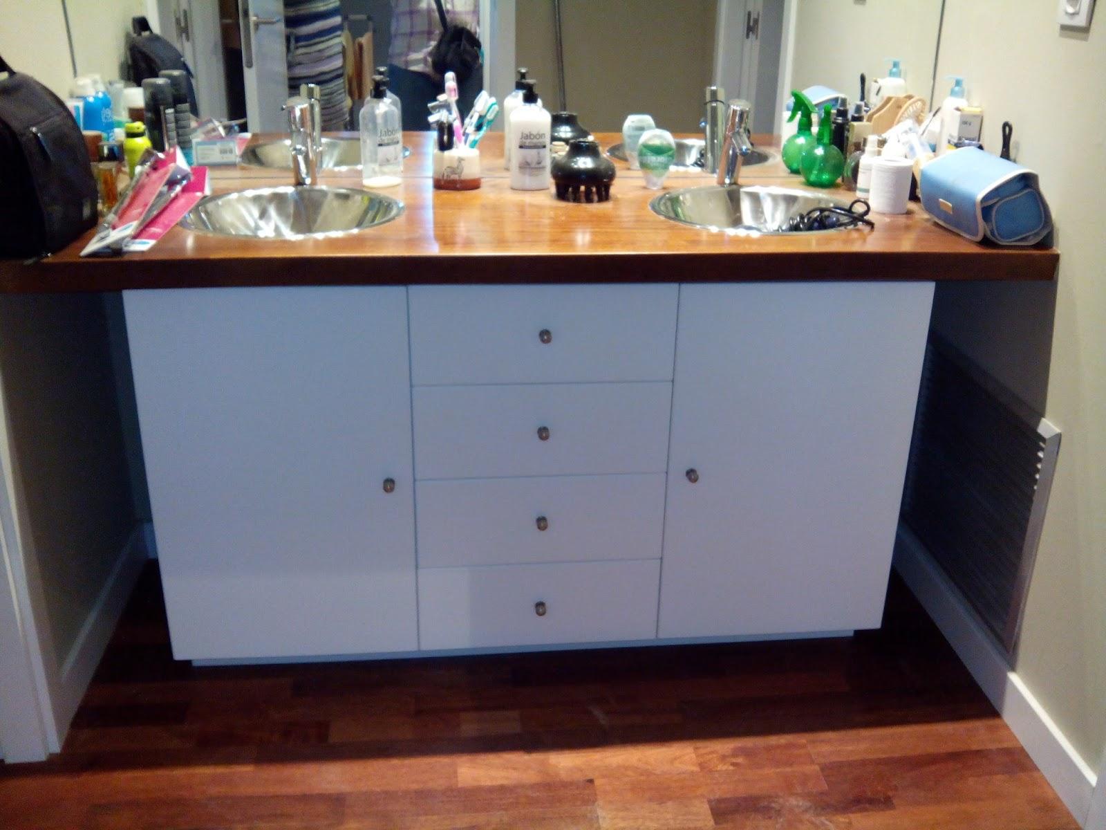 Mueble de cuarto de ba o para dos lavabos muebles for Muebles de bano zaragoza