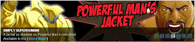 Powerful Man's Jacket at Superhero City banner