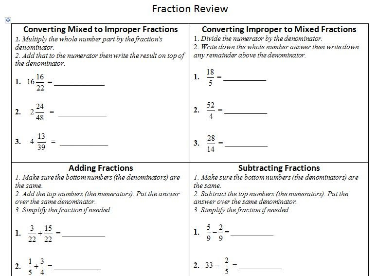 insPire math Fraction Review Sheet – Fraction Review Worksheets