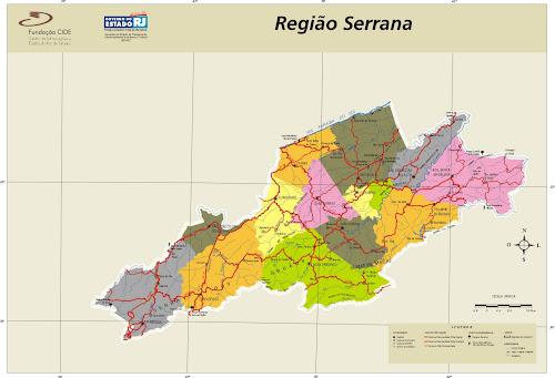 Mapa de Nova Friburgo e região serrana do Rio de Janeiro