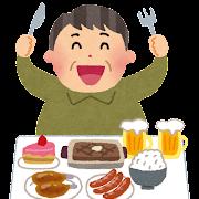 高カロリーな食事のイラスト(生活習慣病)