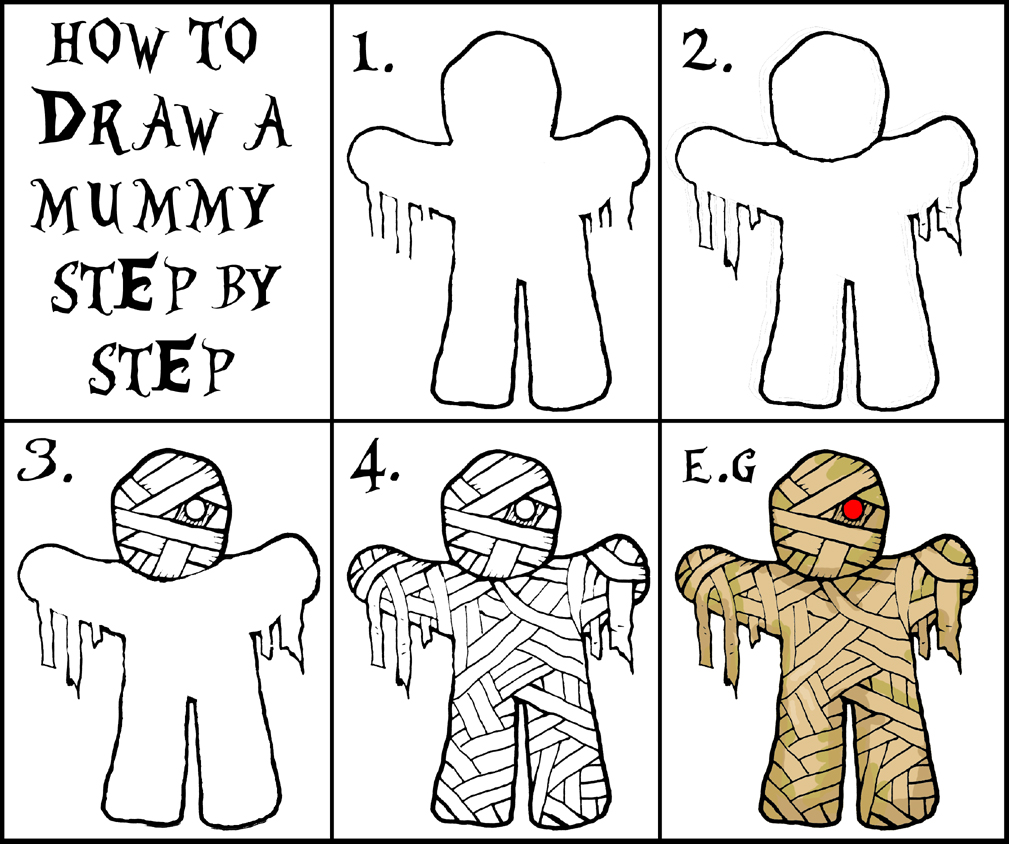 how to draw monsters step by step