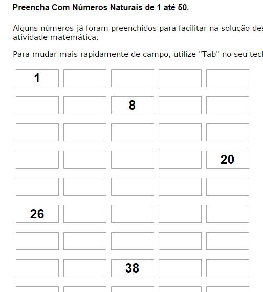 http://www.estudamos.com.br/numeros/numeros-naturais-1-a-50.php