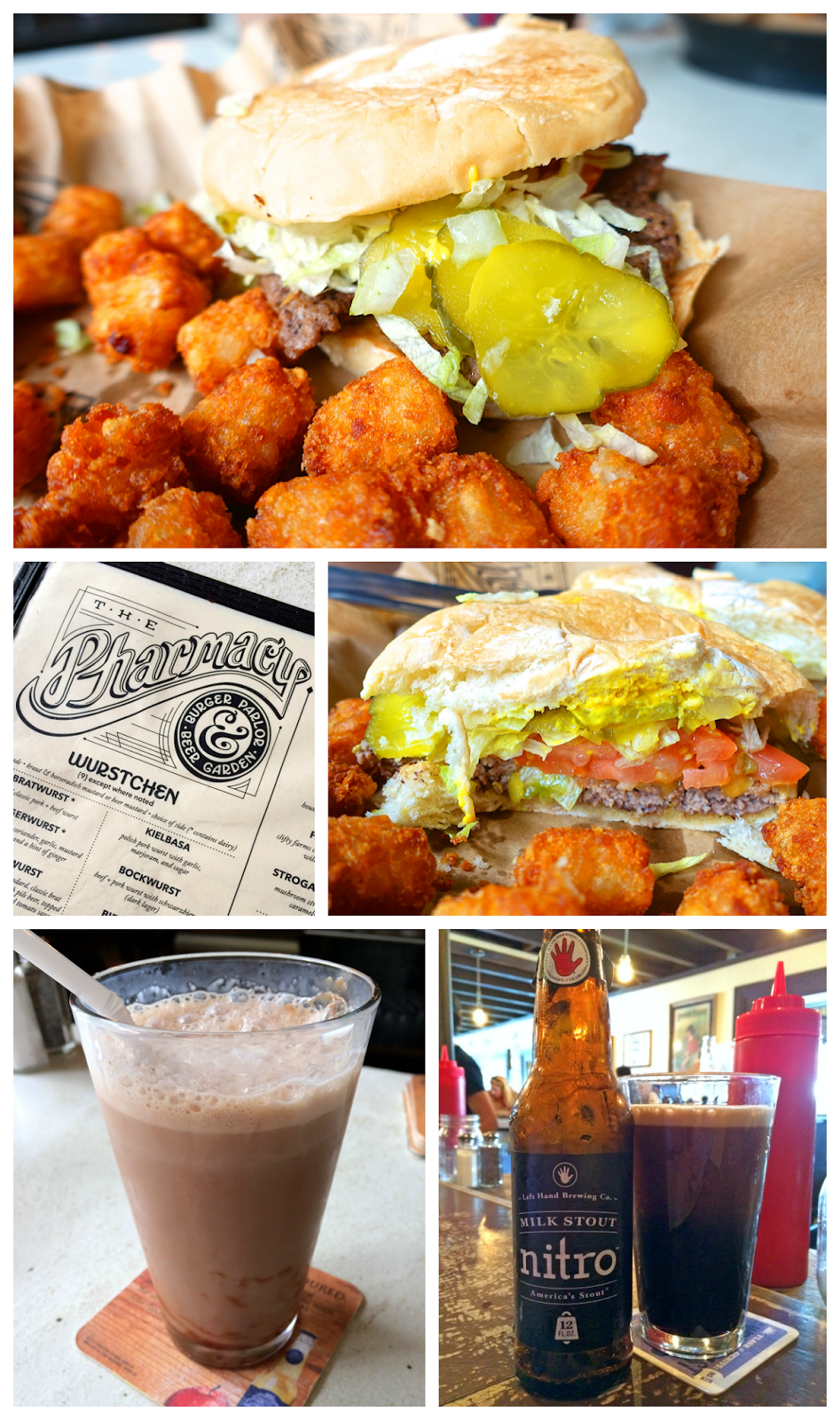 The Pharmacy Burger Parlor and Beer Garden - Nashville, TN - BEST burger in Nashville - hand made burgers, brats and old fashioned sodas. They even make their own condiments! Don't miss the tots! Great beer list. Sit outside in the beirgarten!
