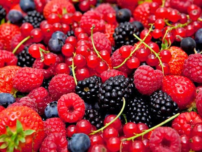 Frutas vermelhas: morango, mirtilo, amora framboesa e groselha