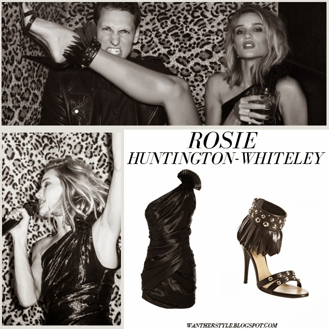 Rosie Huntington-Whiteley in black one shoulder mini dress Isabel Marant Linn and black ankle strap fringe sandals Giuseppe Zanotti want her style party birthday april 18 2015