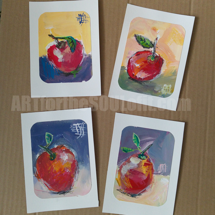 painting lesson: four apples painted in acrylic paint
