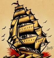 sailor jerry flash ship  ... shading of Sai...
