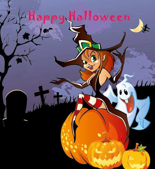 brujita de Halloween - vector