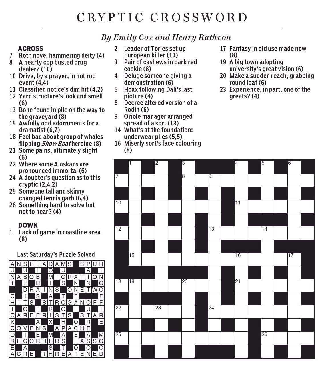 National Post Cryptic Crossword Forum October 2015