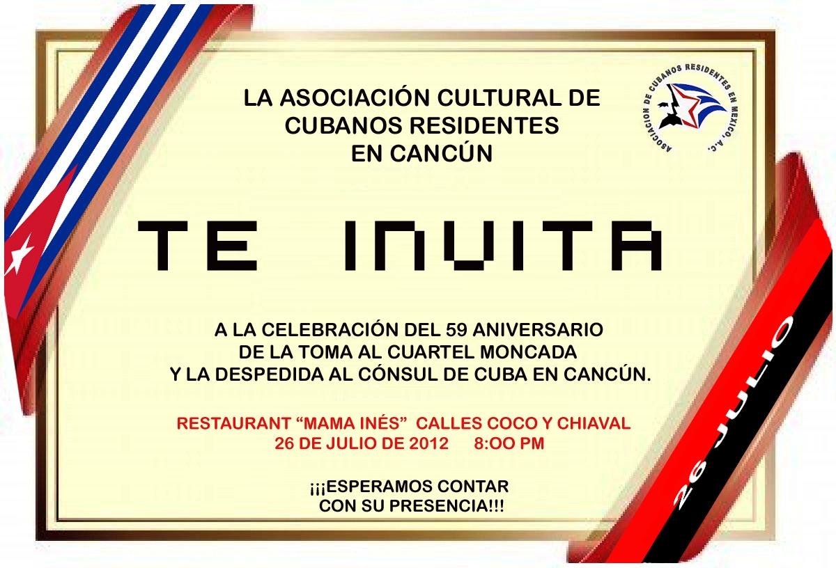 INVITACIÓN AL FESTEJO DEL 26 DE JULIO EN CANCÚN