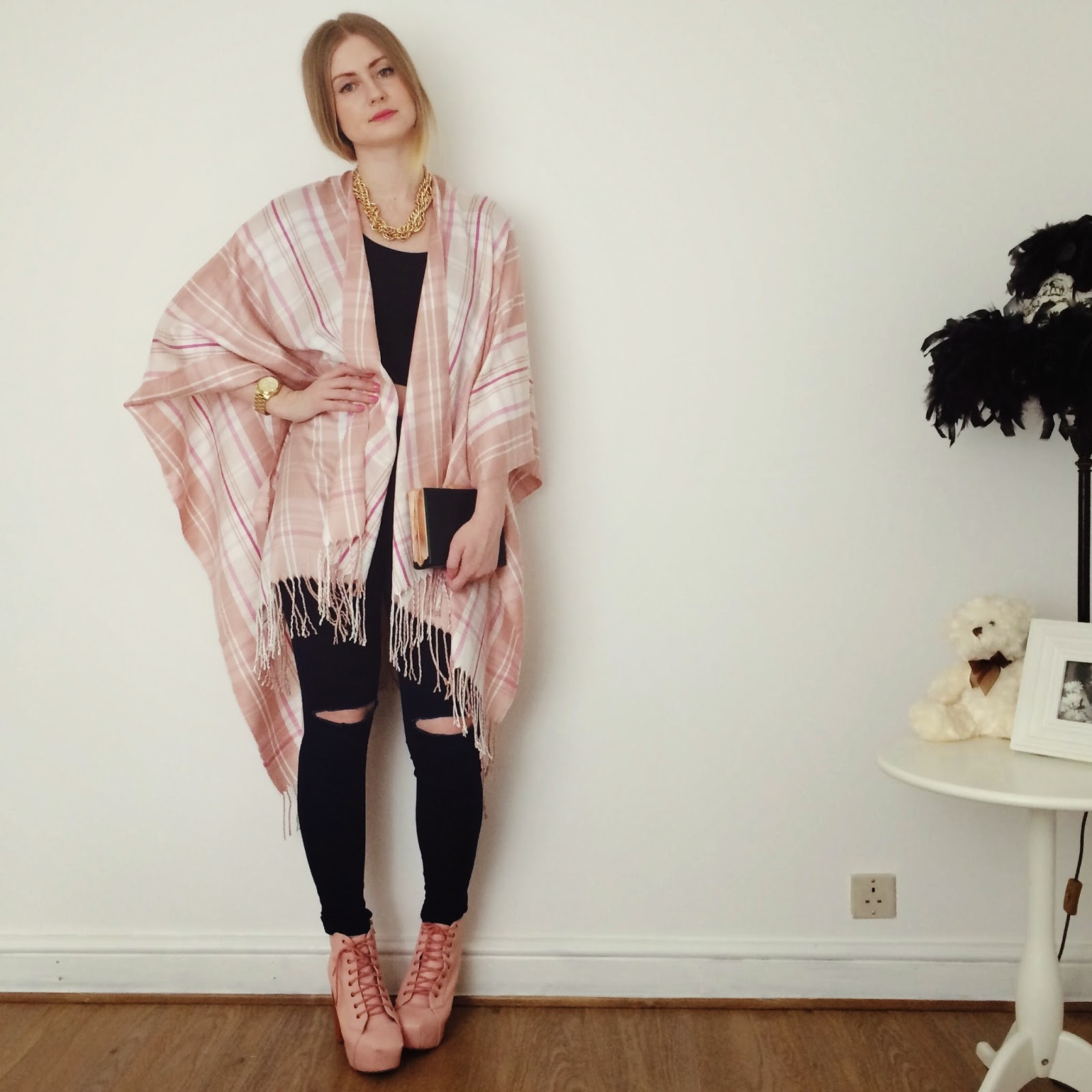 FashionFake, a UK fashion and lifestyle blog. Blue Vanilla create the best cover up for Spring - a pastel pink, tartan patterned poncho, perfect for those chilly Spring days when you need an extra layer.